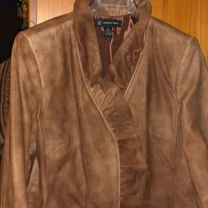 Woman Leather Light Brown Jacket Size XL INC